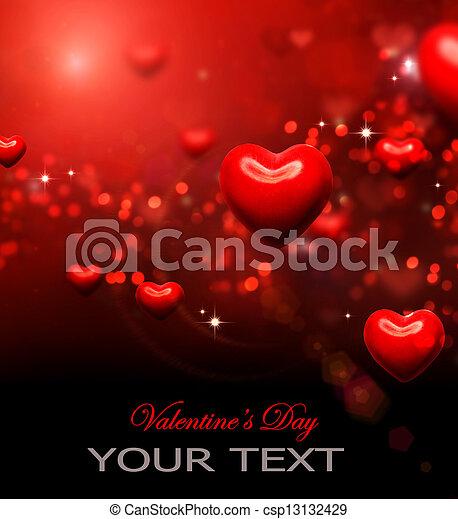 list miłosny, abstrakcyjny, tapeta, valentine, tło., serca, czerwony - csp13132429