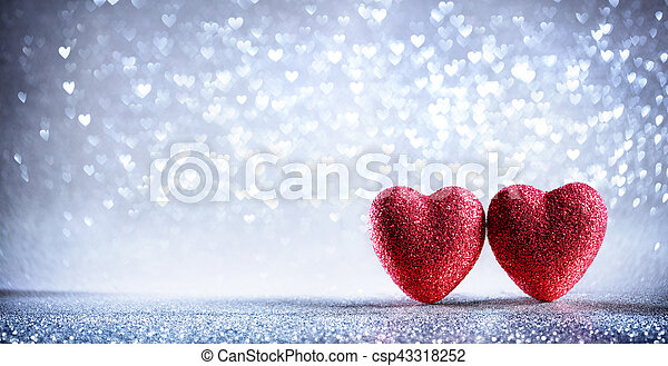 list miłosny, -, dwa, tło, serca, błyszczący, srebro, karta - csp43318252