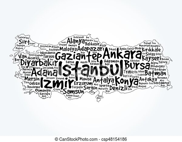 List of cities in turkey word cloud map concept background vector