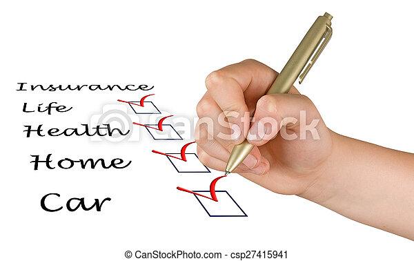 lista, biztosítás - csp27415941