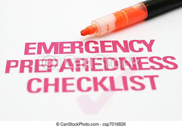 lista de verificação, emergência - csp7016826
