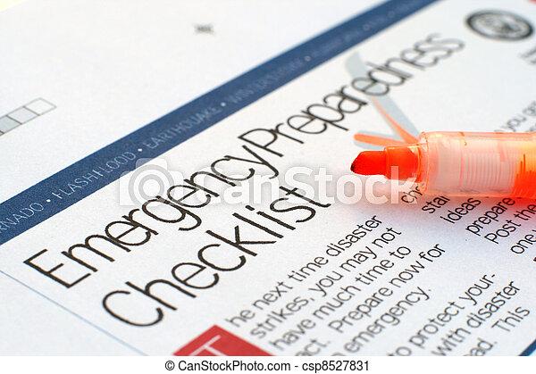 lista de verificación, emergencia - csp8527831