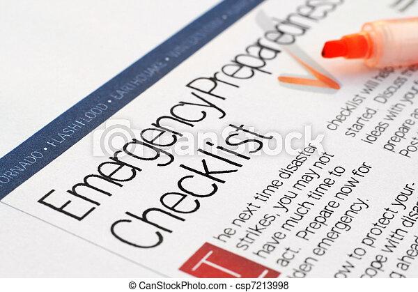 lista de verificación, emergencia - csp7213998