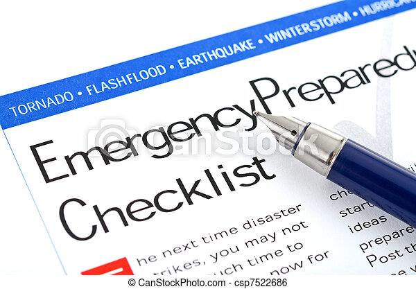 lista de verificación, preparación, emergencia - csp7522686