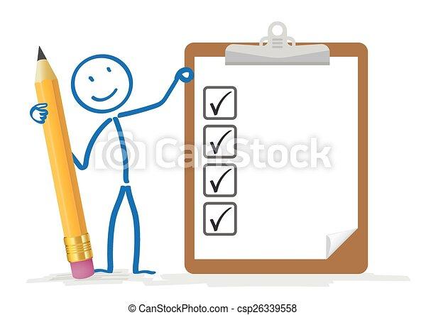 lista, matita, stickman, appunti - csp26339558