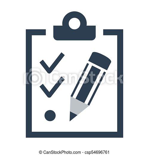 liste contrôle, blanc, icône, arrière-plan. - csp54696761