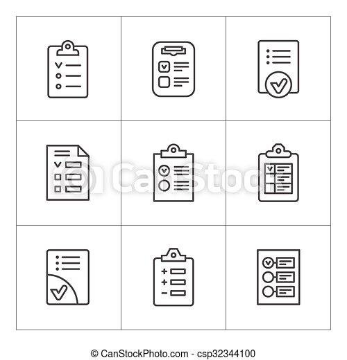 liste contrôle, ligne, ensemble, icônes - csp32344100