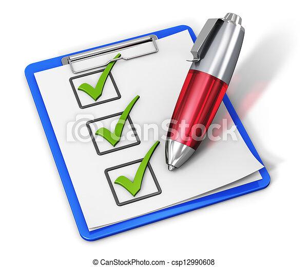 liste contrôle, stylo, presse-papiers - csp12990608