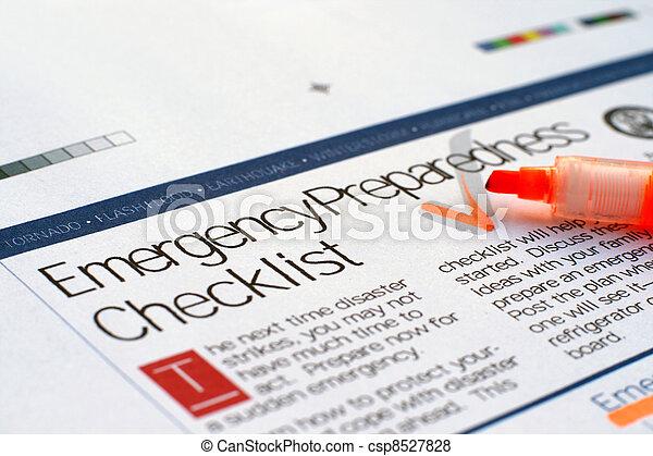 liste contrôle, urgence - csp8527828