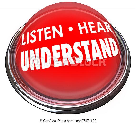 Listen Hear Understand Red Button Light Learn Comprehension - csp27471120