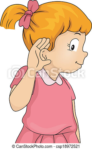 listening girl illustration of a little girl with her hand rh canstockphoto com listening clip art free listening images clipart
