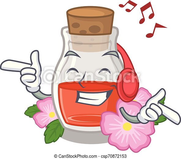 Listening music rose seed oil the cartoon shape - csp70872153