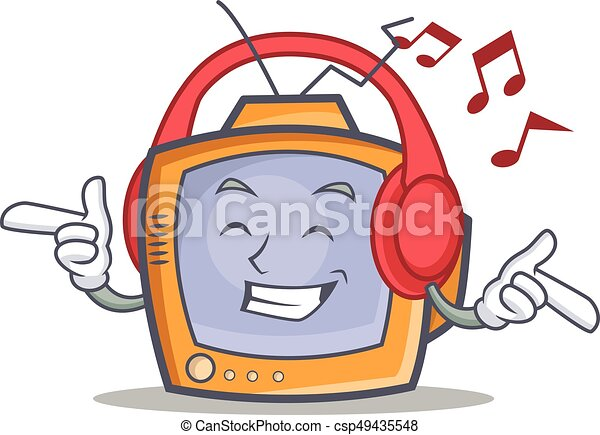 listening music tv character cartoon object vector eps vector rh canstockphoto com boy listening to music clipart listening to music clipart