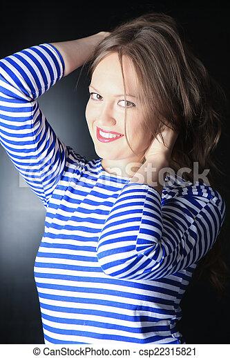 listrado, mulher, jovem, hoodie - csp22315821