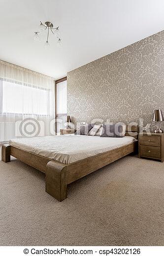 lit bois, chambre à coucher