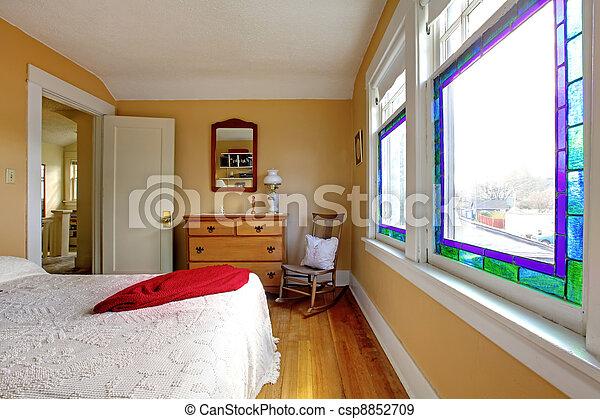 lit, jaune, bois, dresser., chambre à coucher, blanc
