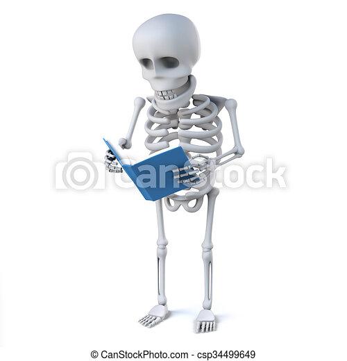 Lit Livre Squelette 3d