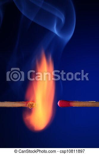 lit matchstick next to an unlit matchstick - csp10811897
