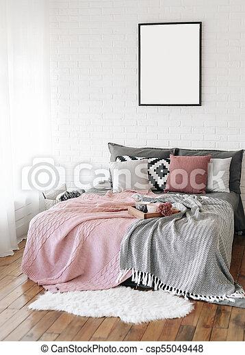 lit, scandinave, gratuite, chambre à coucher, intérieur, écriture