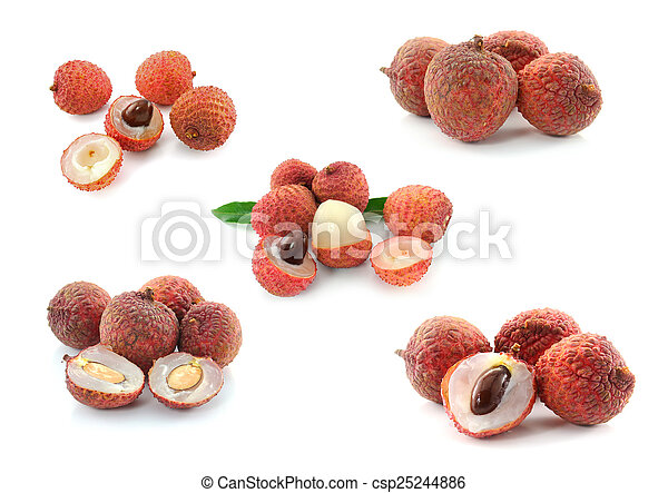 Litchi isolated on white background - csp25244886