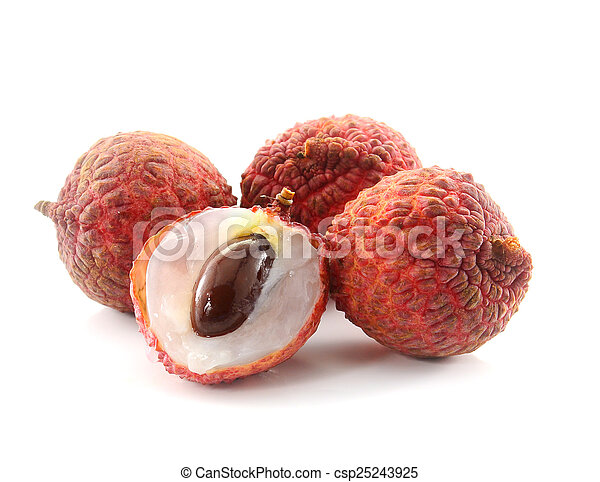 Litchi isolated on white background - csp25243925
