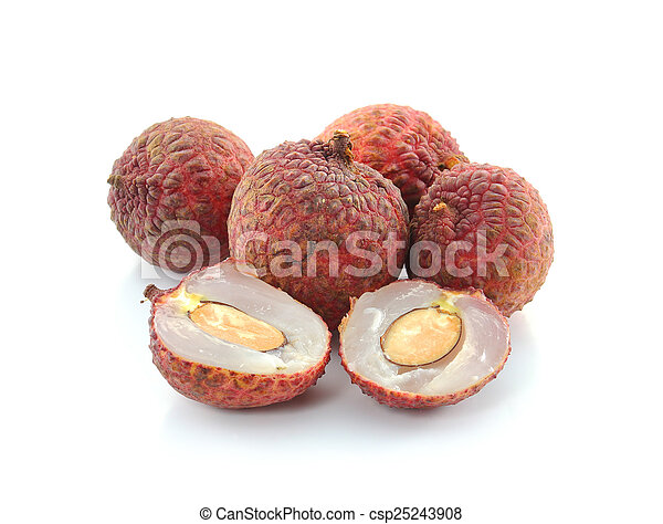 Litchi isolated on white background - csp25243908