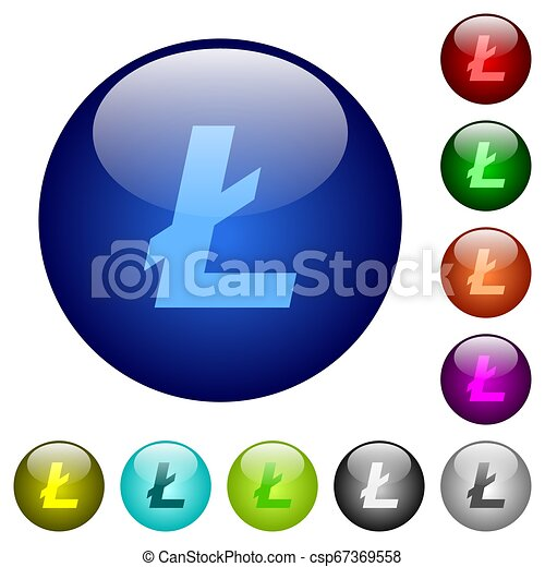 Litecoin digital cryptocurrency color glass buttons - csp67369558