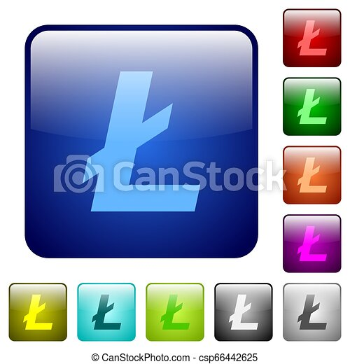 Litecoin digital cryptocurrency color square buttons - csp66442625