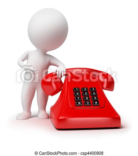 liten, 3, -, telefon, folk - csp4400908