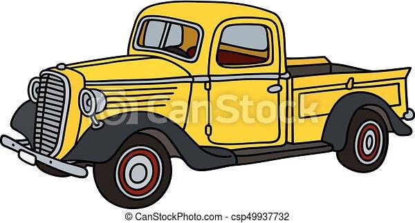 liten, lastbil, gul, klassisk - csp49937732
