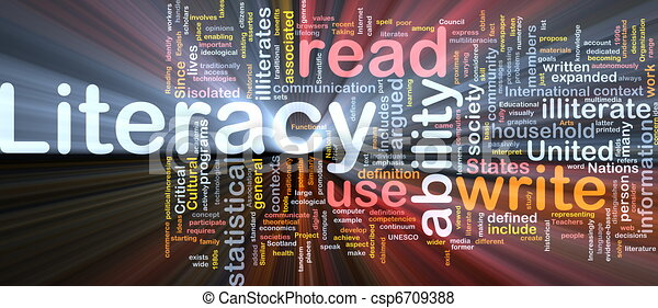 Literacy Background Concept Glowing Background Concept Wordcloud