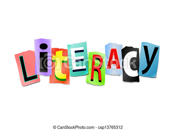 Literacy Concept Illustration Depicting Cut Out Letters Arranged To