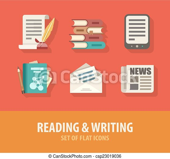 Literature reading and writing set of flat icons - csp23019036