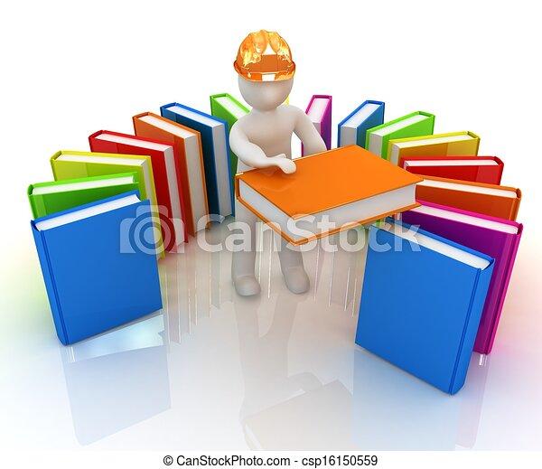 literatuur, technisch, hard, witte , man, hoedje, best, 3d - csp16150559