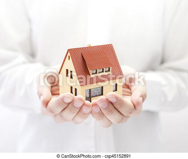 litet hus, leksak, räcker - csp45152891