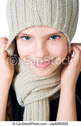 litet, mössa, flicka, scarf - csp6880655