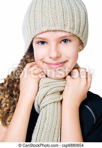 litet, mössa, flicka, scarf - csp6880654
