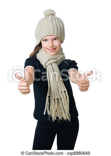litet, mössa, flicka, scarf - csp6880649