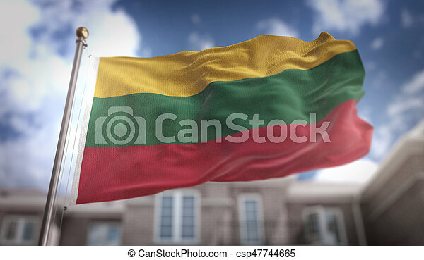 Lithuania Flag 3D Rendering on Blue Sky Building Background - csp47744665