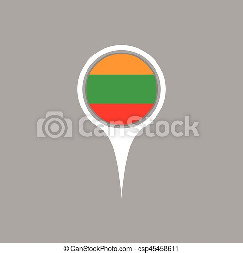Lithuania flag location map icon vector illustration vector clip