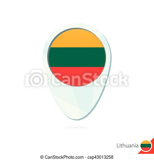 Lithuania flag location map pin icon on white background clipart