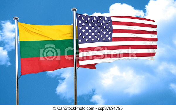 Lithuania flag with American flag, 3D rendering - csp37691795