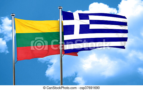 Lithuania flag with Greece flag, 3D rendering - csp37691690