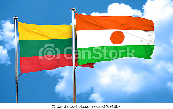 Lithuania flag with Niger flag, 3D rendering - csp37691667