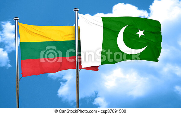 Lithuania flag with Pakistan flag, 3D rendering - csp37691500