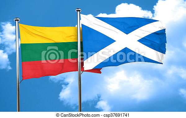 Lithuania flag with Scotland flag, 3D rendering - csp37691741