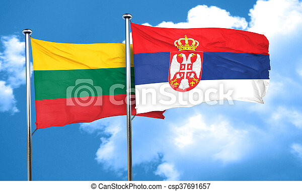Lithuania flag with Serbia flag, 3D rendering - csp37691657