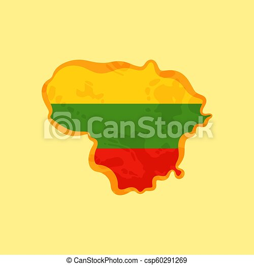 Lithuania - Map colored with Lithuanian flag - csp60291269