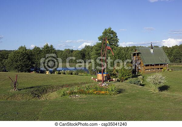 Lithuanian flag near bath - csp35041240