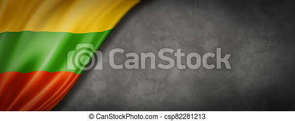 Lithuanian flag on concrete wall banner - csp82281213